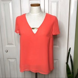 Guess coral v-neck top, gold tone hardware
